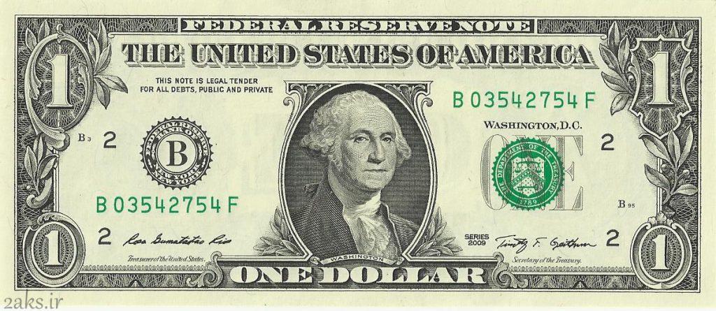 عکس روی 1 دلاری آمریکا