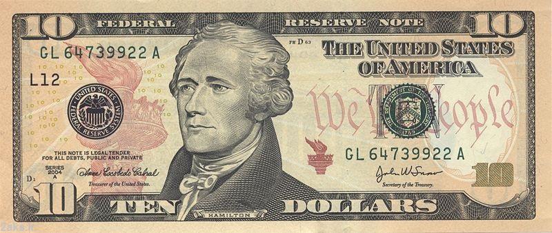 عکس روی 10 دلاری آمریکا