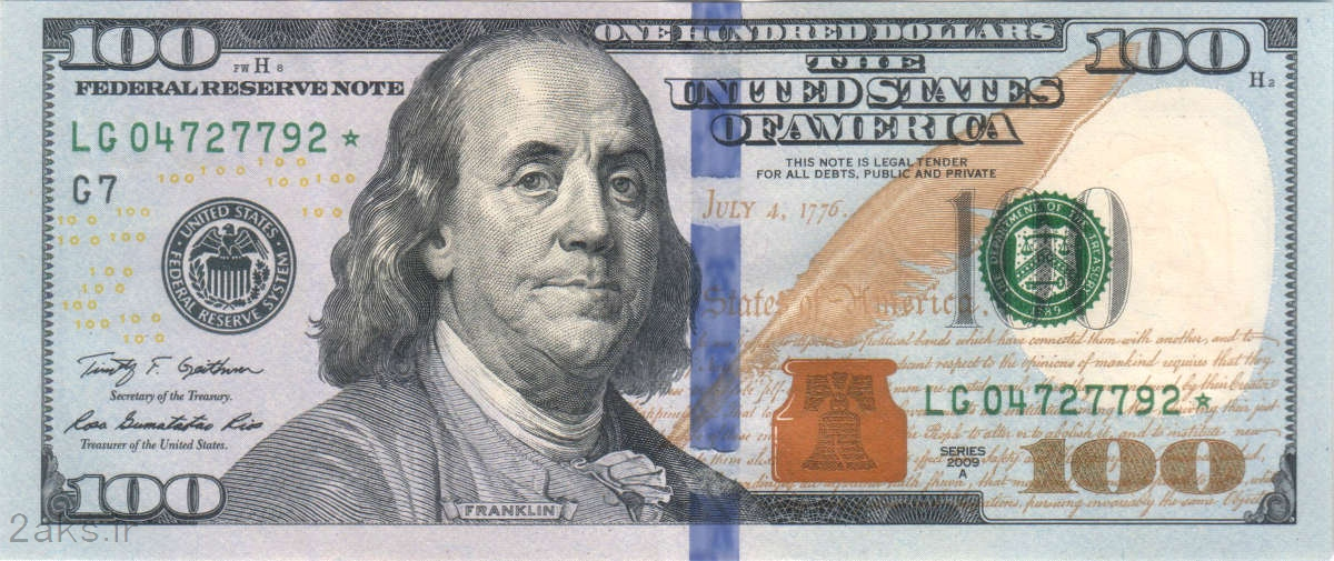 عکس روی 100 دلاری آمریکا