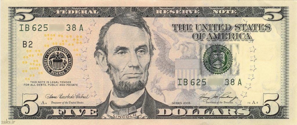 عکس روی 5 دلاری آمریکا