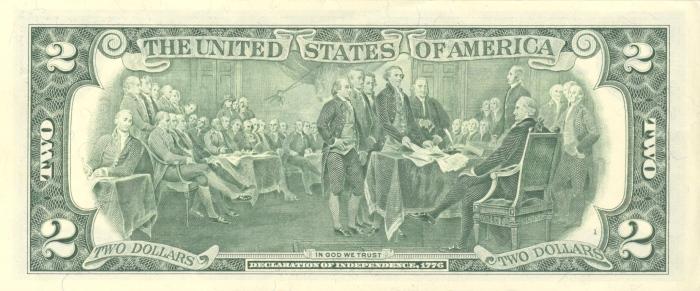عکس پشت 2 دلاری آمریکا